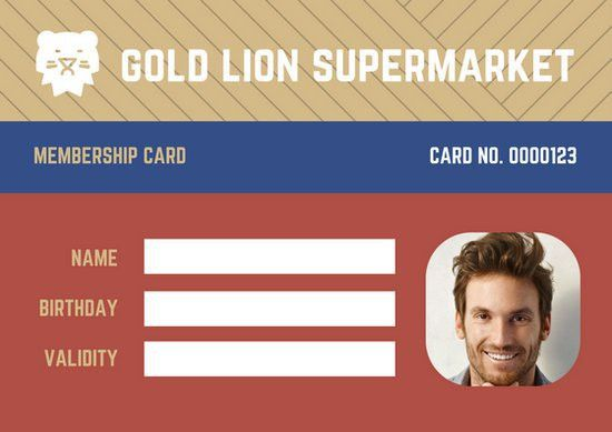 Colorful Lion Supermarket Grocery Membership ID Card - Templates ...