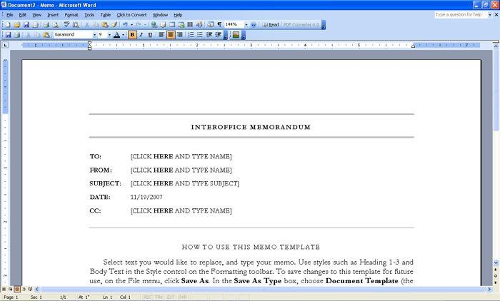 memo format example in word - Format