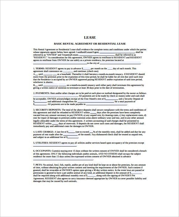 12+ Printable Lease Agreement Templates - Free Sample, Example, Format