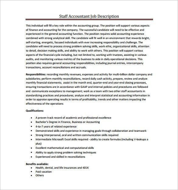 Accountant Job Description Template - 9+ Free Word, PDF Format ...