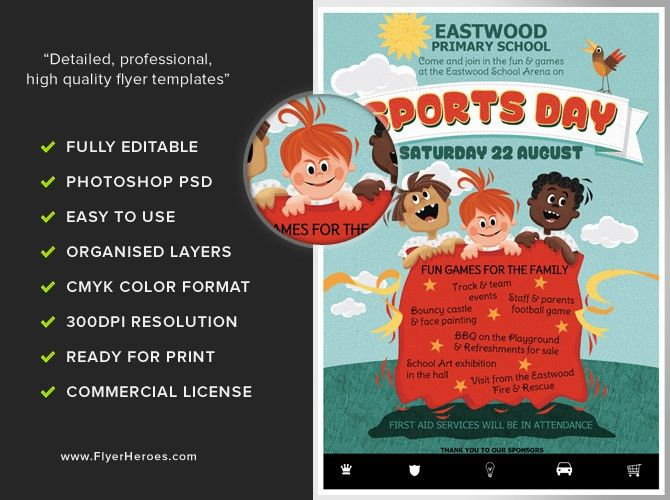 Kid's Sports Day Flyer Template - FlyerHeroes