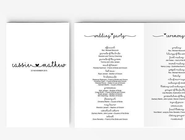 Wedding Program Booklet DIY | Editable MS Word Template | Cute ...