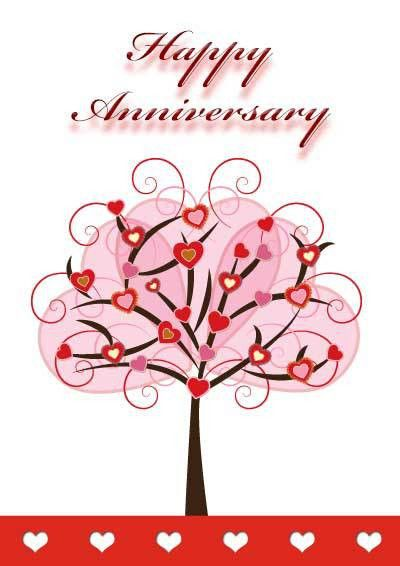 Perfect Printable Card Template for Anniversary with Love Tree and ...