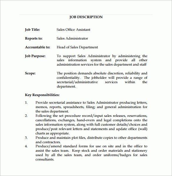 11 office assistant job description templates free sample