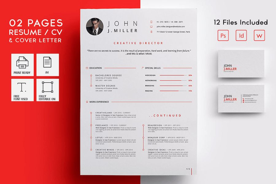 50 Best Resume Templates For Word That Look Like Photoshop Designs