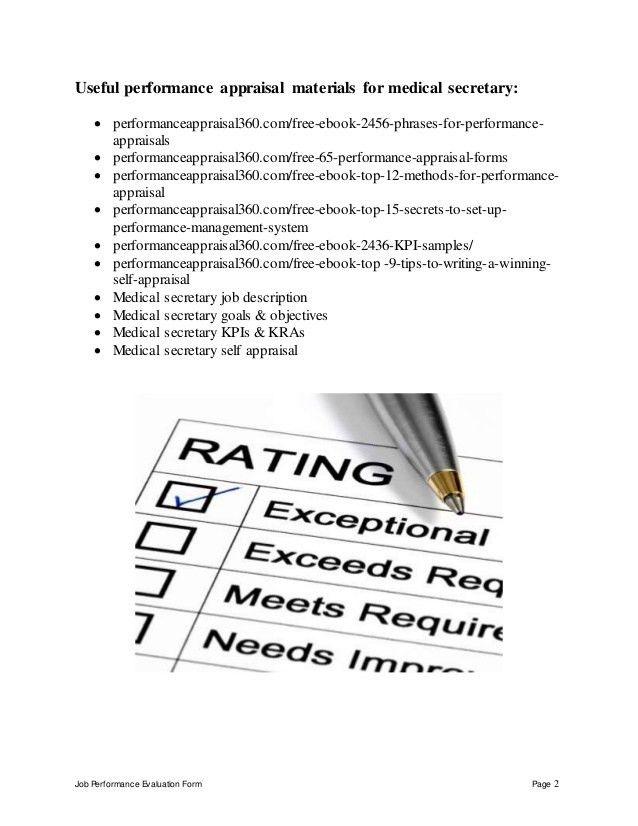 Medical secretary performance appraisal