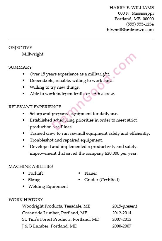 Resume Sample: Millwright - Damn Good Resume Guide