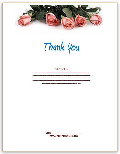 microsoft word thank you card template - Template