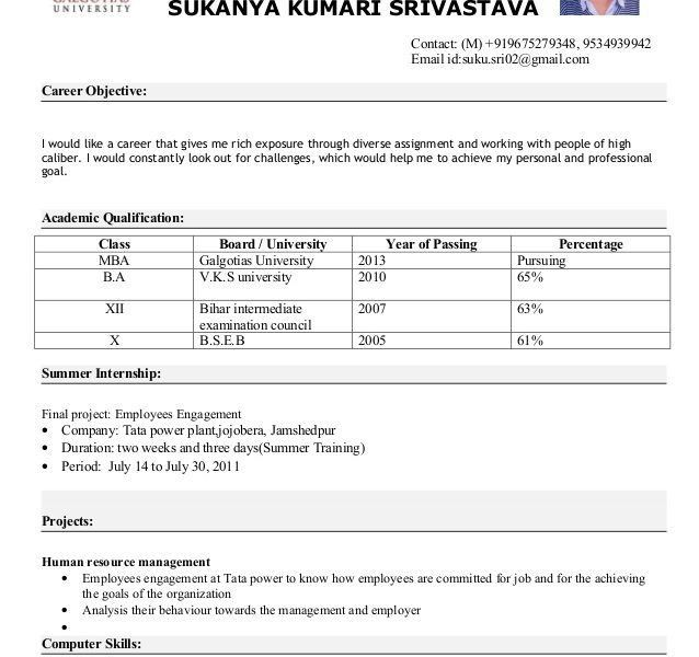objective for mba resume