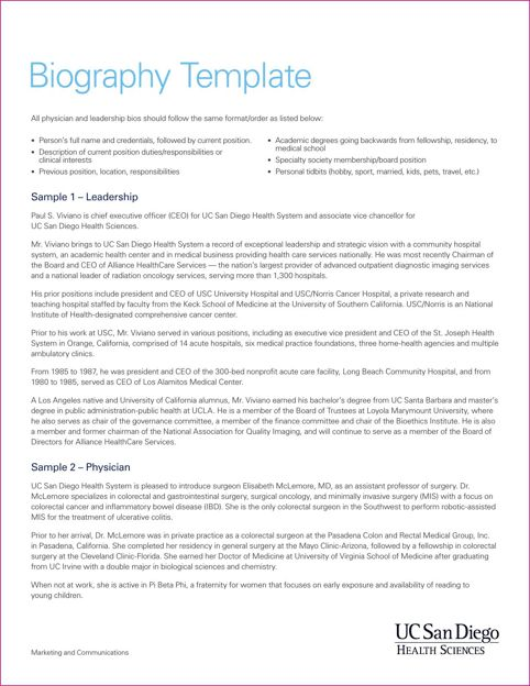 Biography Template | Templates&Forms | Pinterest | Functional resume