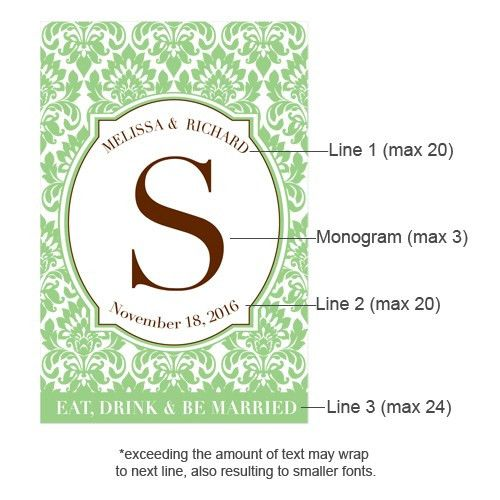 Damask Monogram Wine Labels - 8 pcs - Wine Wedding Labels & Hang ...