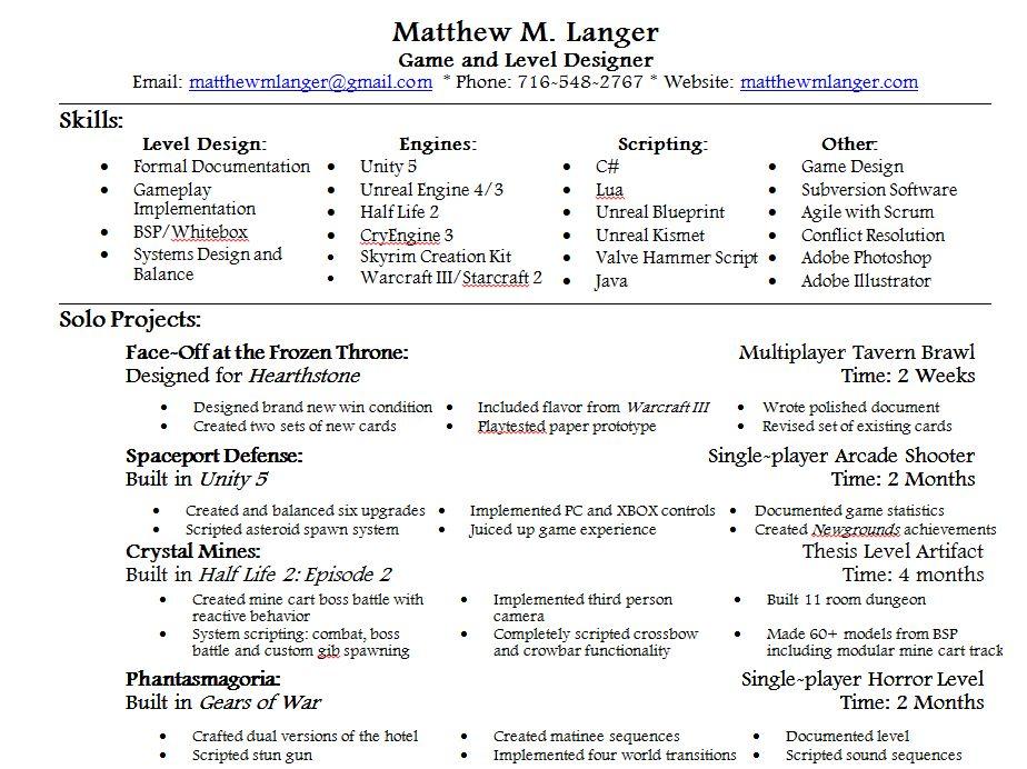 Resume - Matthew M Langer Game and Level Designer