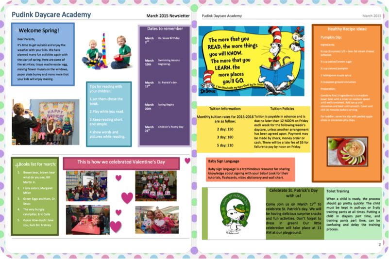 Free Child Care Newsletter Templates - Pudink Daycare Blog