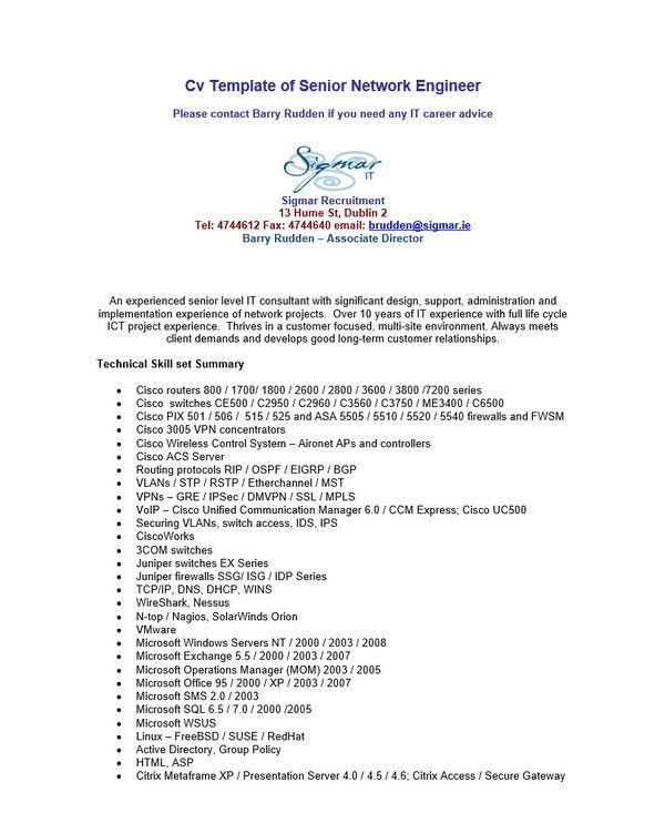 10+ Network Engineer Resume Templates