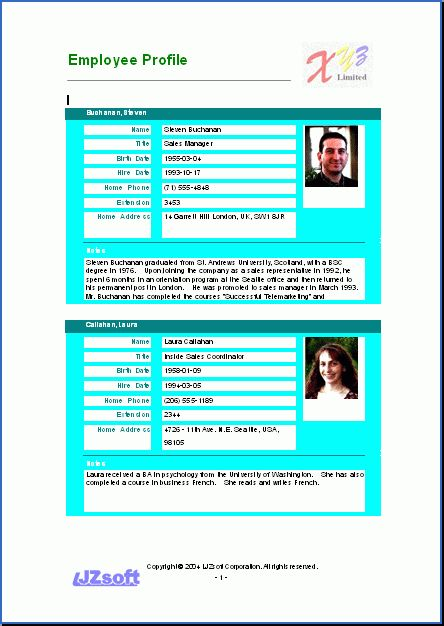 Free Word Report Sample - Employee Profile