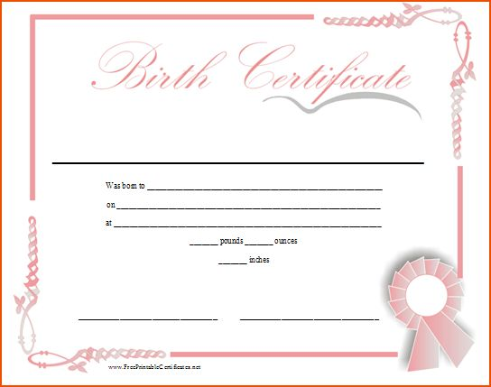 6+ birth certificate templates - bookletemplate.org