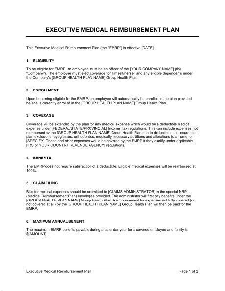 Executive Medical Reimbursement Plan - Template & Sample Form ...