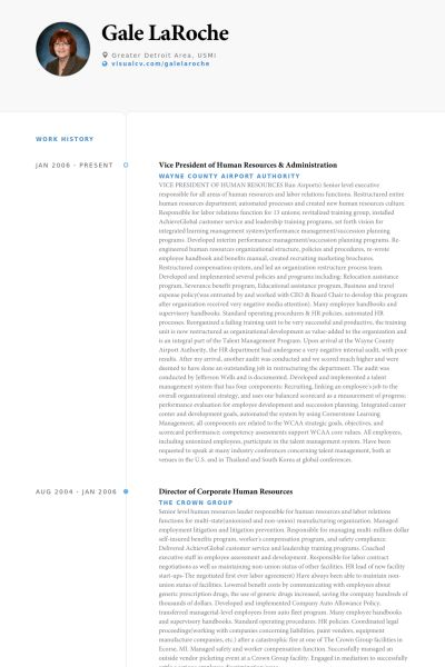 Human Resources Resume samples - VisualCV resume samples database