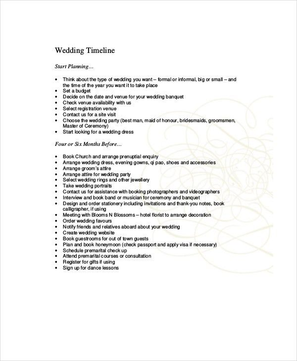 10+ Wedding Timeline Templates - Free Sample, Example, Format ...