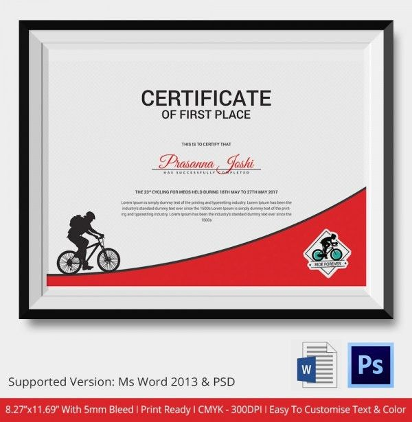 Cycling Certificate - 5+ Word, PSD Format Download   Free ...