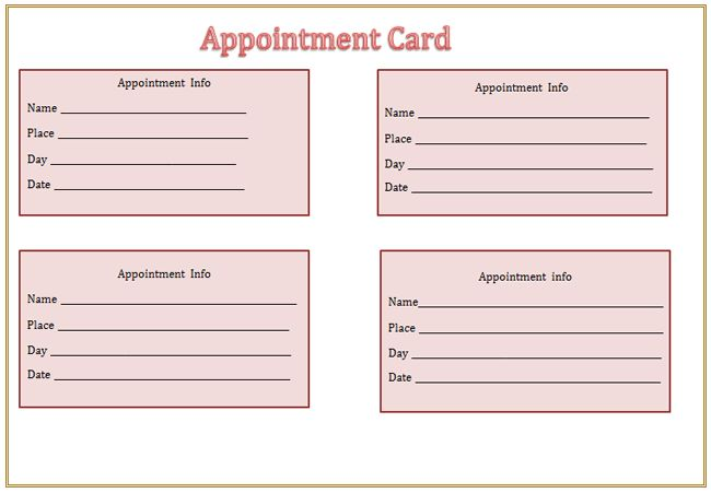 Appointment Card Template - Microsoft Word Templates
