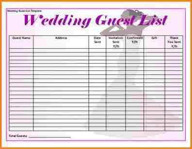 8+ wedding guest list template excel | wedding spreadsheet