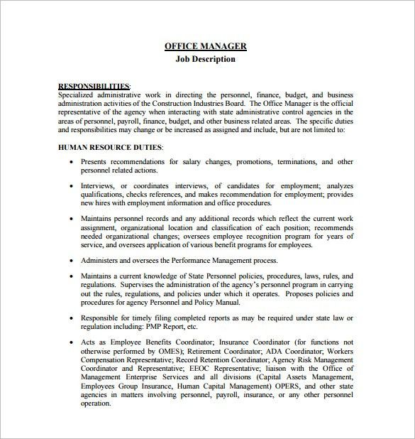 Office Manager Job Description Template – 10+ Free Word, PDF ...