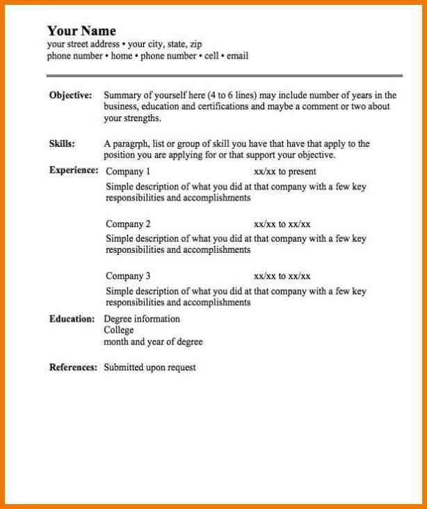 Basic Resume Format Examples [Template.billybullock.us ]