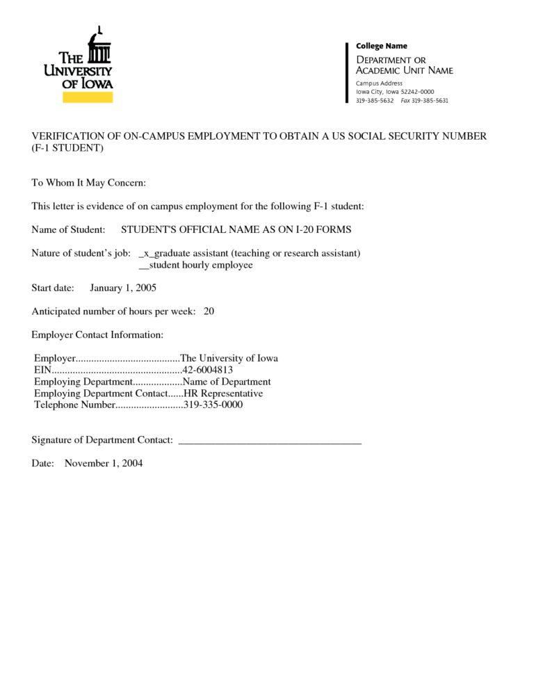 Employment Verification Letter Template Microsoft (1) | Best ...