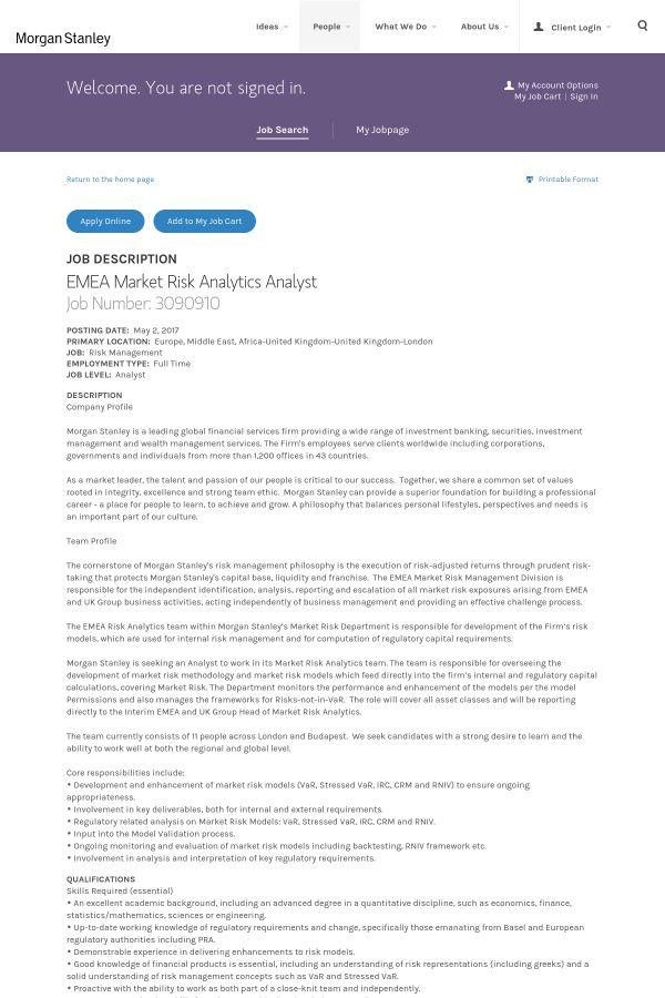 EMEA Market Risk Analytics Analyst job at Morgan Stanley in London ...