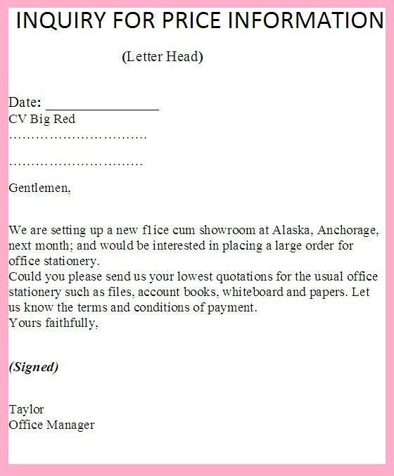 Inquiry Letter For Asking Or Requesting Price List Or Information ...