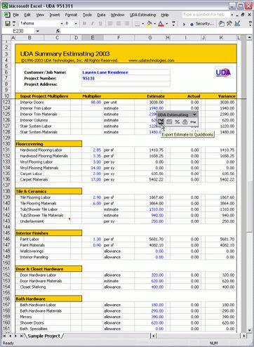 UDA Estimating 2003 - Construction Estimating Templates