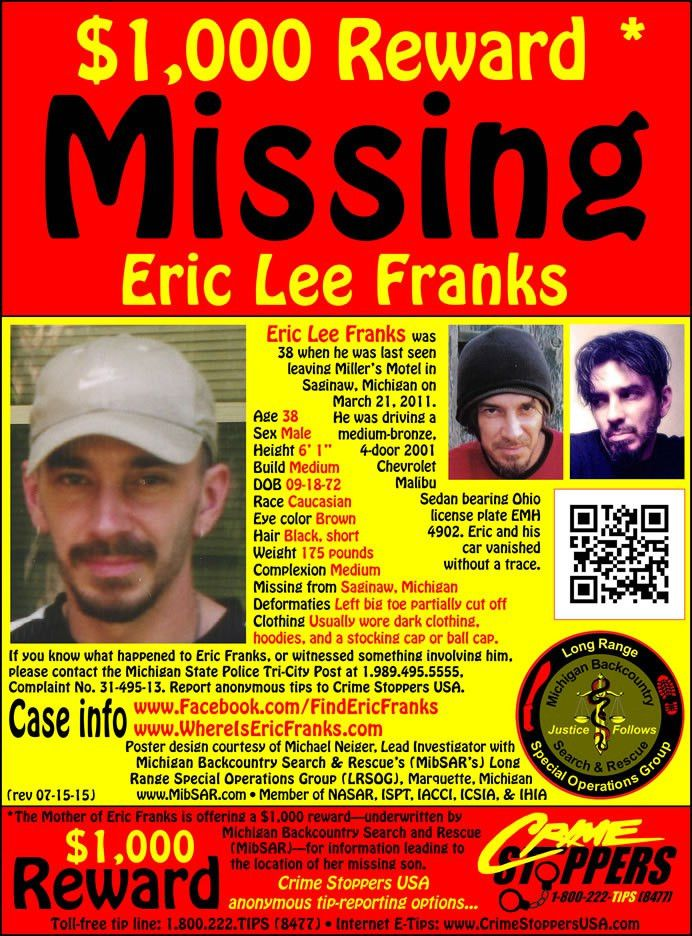 Eric Franks' Missing Person Web site