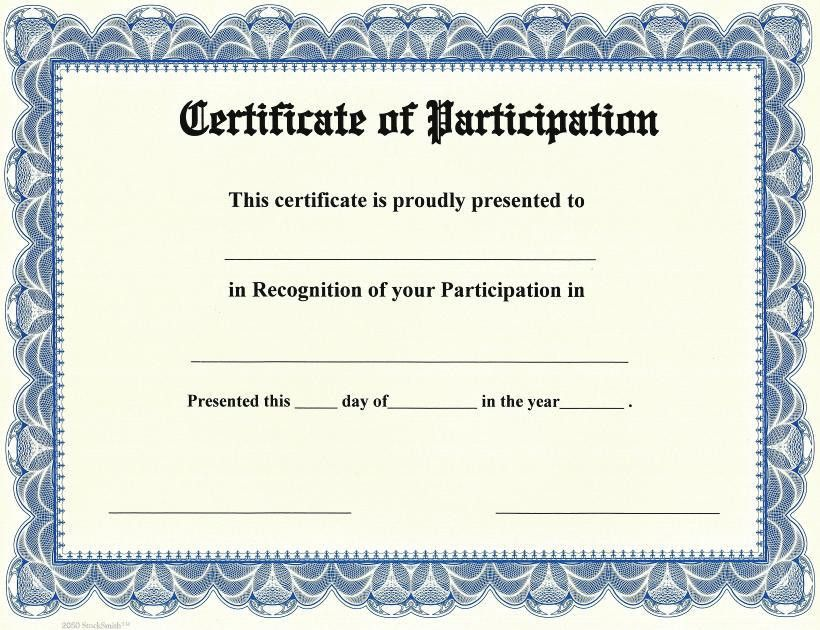 Participation Certificate Template. Brown And Cream Bordered ...