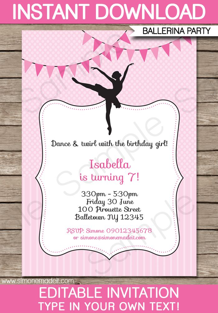Ballerina Party Invitations Template | Birthday Party