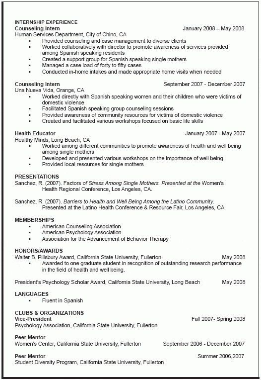 graduate school resume sample resume for graduate school