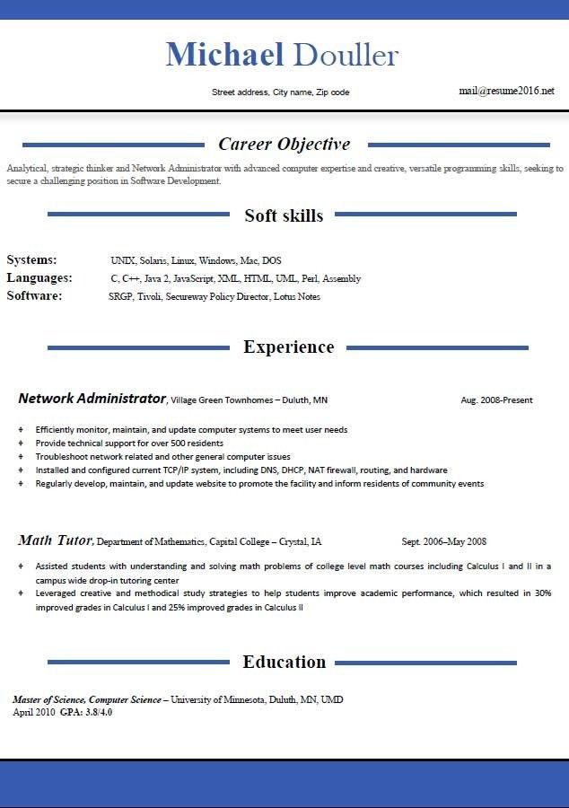 Free Resume Template 2016 Example Resume Professional Profile And ...