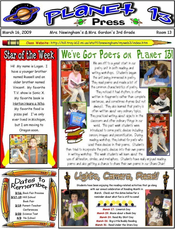 Classroom Newsletter Template Pinterest | pikpaknews