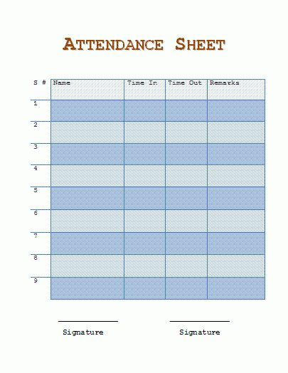 46 Best Attendance Sheet Template Examples For Classroom And ...