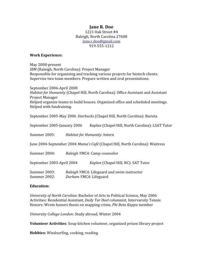 Law School Application Resume Sample | jennywashere.com