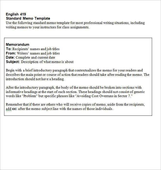 Formal Memorandum Template. Formal Memo Format Example Sample ...