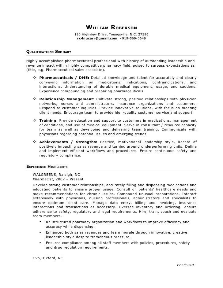 pharma.sales rep.resume