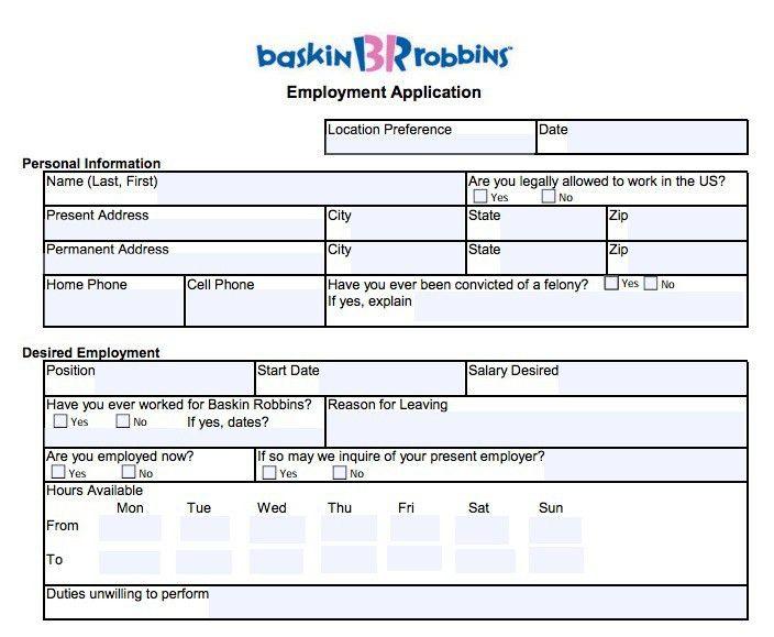 Download Baskin Robbins Job Application Form   Adobe PDF wikiDownload