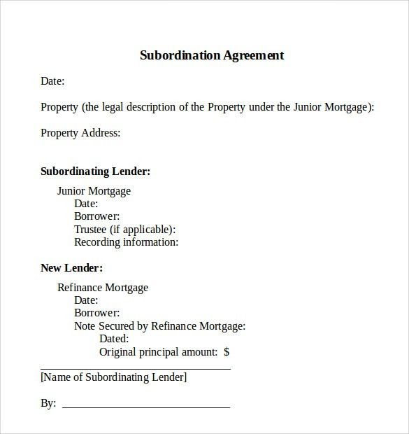 Subordination Agreement Template. 8 Letter Of Agreement Sample For .
