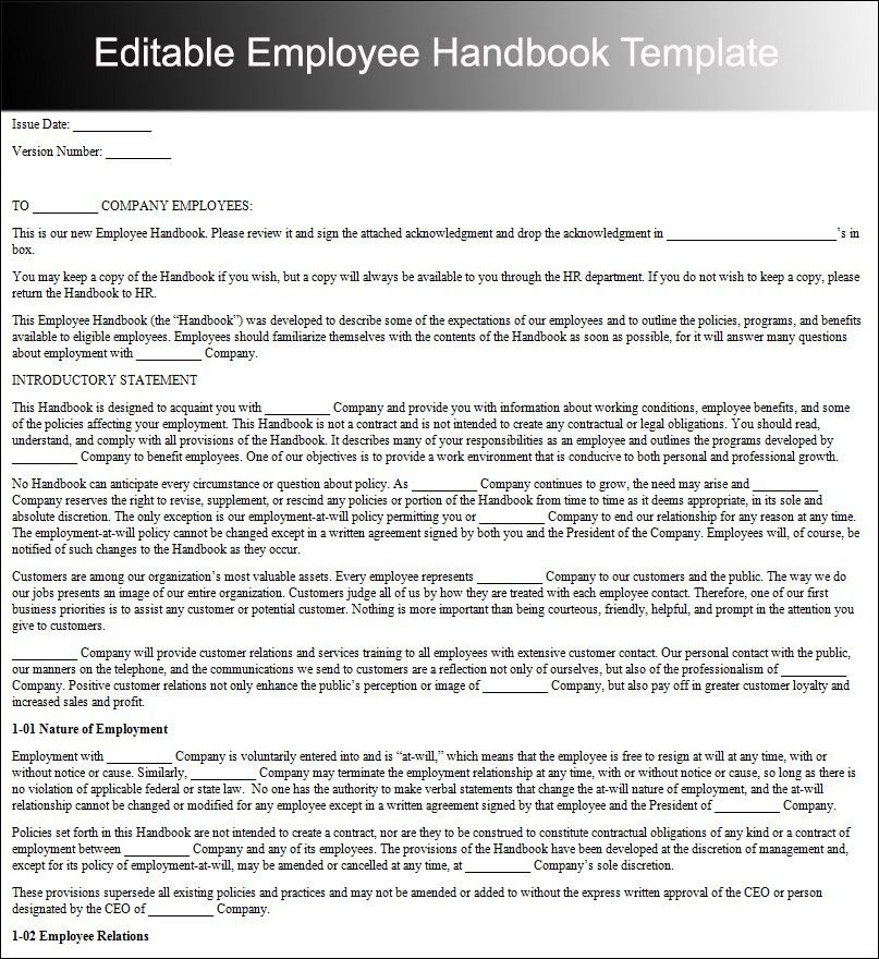 Employee Handbook Templates - Free Word Document | Creative Template