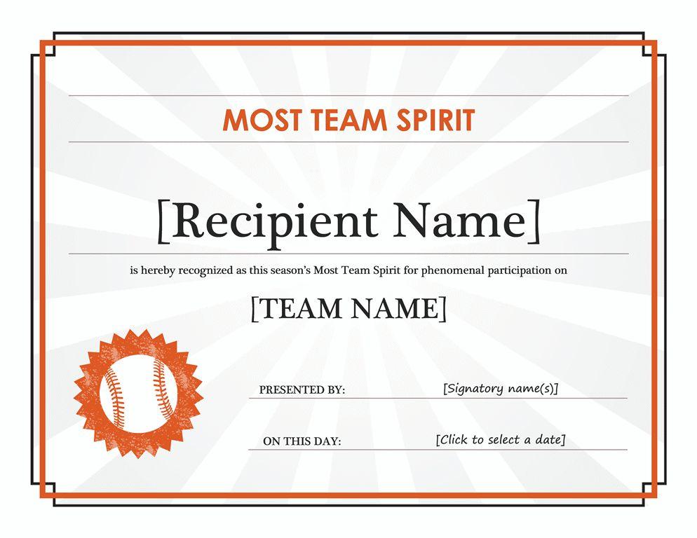 Team Spirit award certificate (editable title) - Office Templates