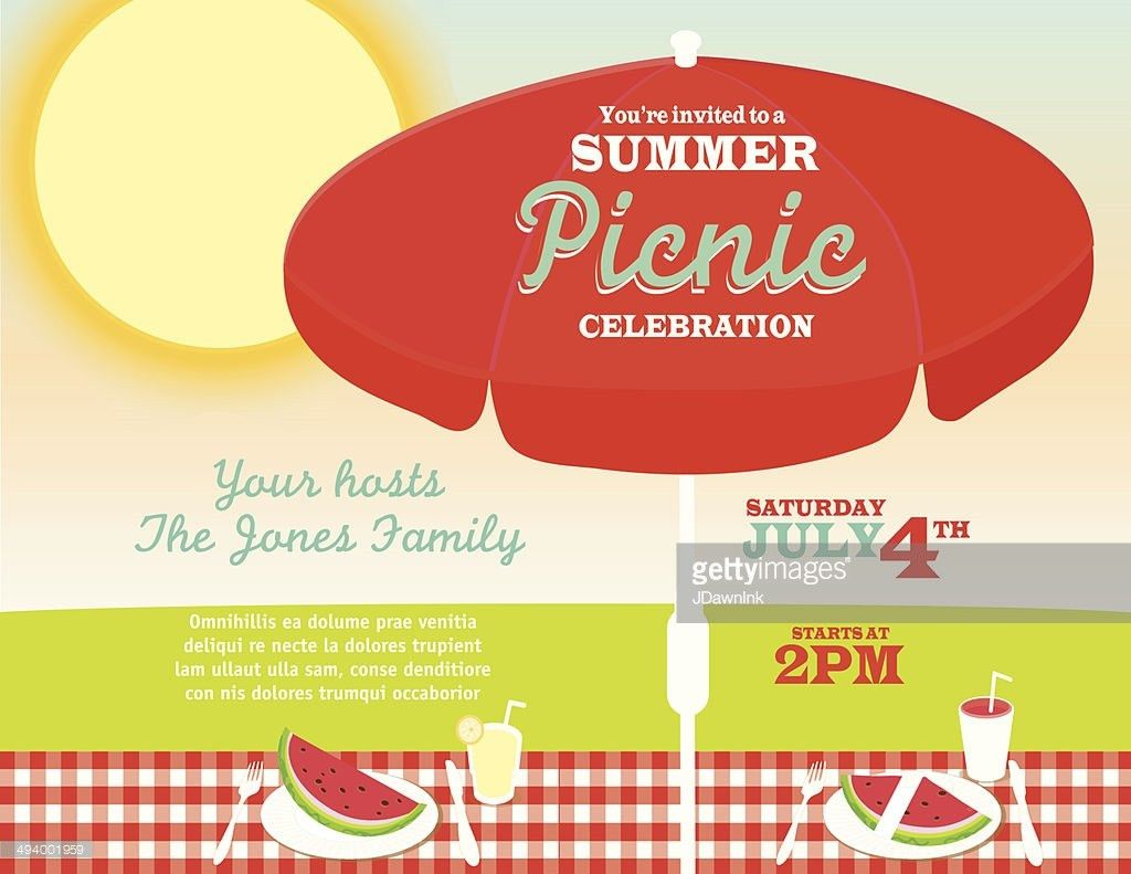 Black And White Picnic Invitation Design Template Vector Art ...