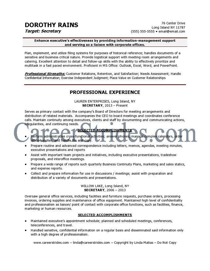Secretary Resume | berathen.Com