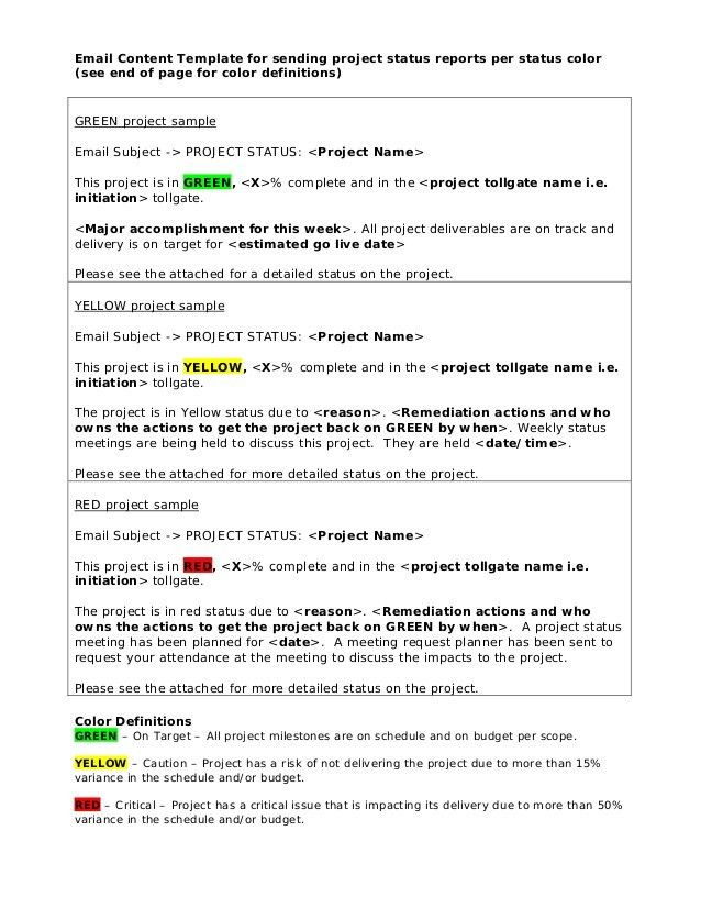 Email content template for status reports