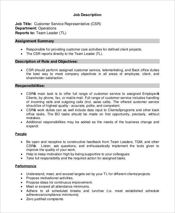 Sample Customer Service Job Description - 8+ Examples in PDF